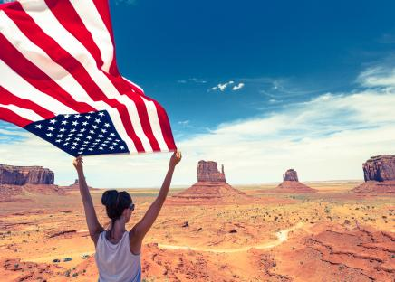 au pair with flag usa